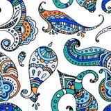 Black line indian paisley  seamless pattern Royalty Free Stock Photos