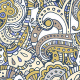 Black line indian paisley  seamless pattern Stock Photography