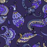 Black line indian paisley  seamless pattern Stock Photo