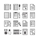 Black line office paper, documents and stationery signs icons set. On white background Stock Photo