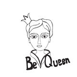 Black line queen on the white background Royalty Free Stock Photography
