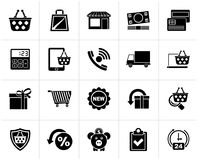 Black on line shop and E-commerce icons. Vector icon set Stock Images