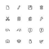 Black line simple web icon set Stock Photos