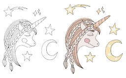 Black line sleep Unicorn with long hair with moon and star for coloring book or pages. Cute Unicorn vector illustration