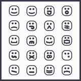 Black line square faces emoticons and icons set Stock Images