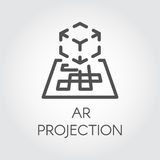Black line vector icon augmented reality digital AR technology future. Royalty Free Stock Images