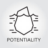 Black line vector icon hidden potential and opportunity as iceberg Royalty Free Stock Image