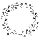 Black line vector illustration floral frame with leaves Royalty Free Stock Images
