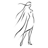 Black line woman in wind. Black line sketch woman in wind on white background Royalty Free Stock Image
