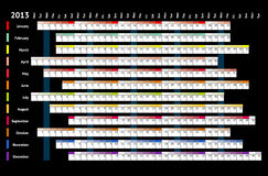 Black linear calendar 2013 Royalty Free Stock Photo