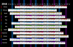Black linear calendar 2016. With days and months color coding Royalty Free Stock Image