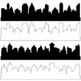 Black and linear city silhouettes, vector set of different black. Horizontal cityscapes. Elements for design banners,web design, architectural backgrounds stock illustration