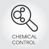 Black linear icon of chemical control in outline style. Black linear icon of chemical control. Chemistry, experiments, research, medicine concept. Logo pixel Royalty Free Stock Photos