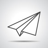 Black linear paper plane icon Royalty Free Stock Photo