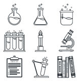 Black lineart icon set. Chemistry. Science Royalty Free Stock Photography