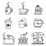 Black lineart icon set. Coffee, tea, cup, devices Stock Image
