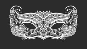 Black lineart venetian carnival mask silhouette. Perfectly to laser cutting, vector illustration Royalty Free Stock Image
