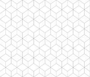 Black lined contour abstract geometrical cubes seamless pattern background Royalty Free Stock Image