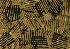 Black golden abstract painting background. Black lines on a golden background royalty free illustration