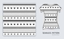 Black lines and heart seamless pattern vector illustration, t shirt design, fabric texture, patterned clothing Royalty Free Stock Photos