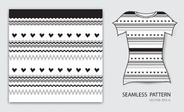 Black lines and heart seamless pattern vector illustration, t shirt design, fabric texture, patterned clothing. Abstract background vector illustration
