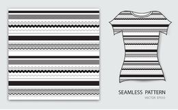 Black lines seamless pattern vector illustration, t shirt design, fabric texture, patterned clothing. Abstract background royalty free illustration