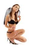Black lingerie angel on high heels Royalty Free Stock Photo