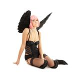 Black lingerie angel with pink hair Royalty Free Stock Photo