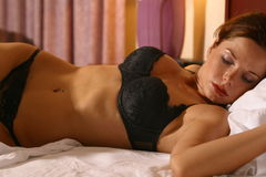 Black lingerie portraits Royalty Free Stock Photos