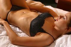 Black lingerie portraits Royalty Free Stock Photography