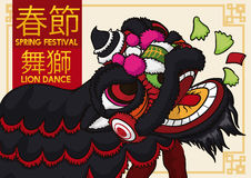 Black Lion Dancing and Eating Lettuce for Chinese New Year, Vector Illustration. Banner with traditional lion dance display with black costume in Spring Festival Stock Images