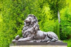 Black lion sculpture in Linderhof Palace park, Bavaria, Germany. Ettal, Germany - June 5, 2016: Black lion sculpture in Linderhof Palace park, Germany Stock Photos