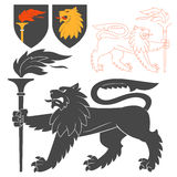 Black Lion With A Torch Illustration Stock Photos