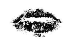 Black Lips 2. Hi resolution Close up of female Lips isolated on a white backround Royalty Free Stock Image