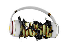Black liquid from the headphones breaks inscription music. stylish white with gold headphones, and the word music. for each color Stock Photos