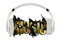 Black liquid from the headphones breaks inscription music. stylish white with gold headphones, and the word music. for each color Royalty Free Stock Photography