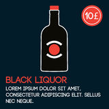 Black liquor card template with price and flat background. Stock Images