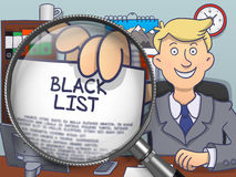 Black List through Magnifier. Doodle Concept. Stock Photos