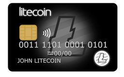 Black litecoin credit or debit card. Supporting wireless payments with the popular cryptocurrency Stock Photos