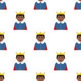 Black Little King Avatar Seamless Pattern Royalty Free Stock Image