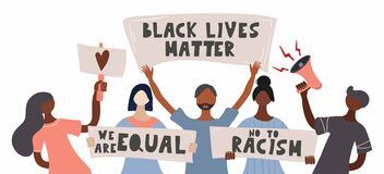 Free Black Lives Matter. Black Lives Matter. Template For Background, Banner, Poster. People Protesting For Their Rights. Poster With Royalty Free Stock Images - 185865259