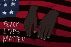 Free Black Lives Matter Concept. Hands Of Black People Sifted Out Of The Hole Of Black Spaces Of The America Flag Royalty Free Stock Images - 185462449