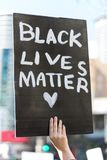 Black lives matter hand sign. A hand sign in a Black Lives Matter demonstration in Seattle downtown Stock Images