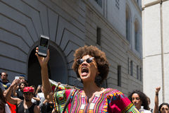 Black lives matter protestor shouting during march on City Hall. Los Angeles, USA - July 12, 2016 -  Black lives matter protestor shouting during march on City Royalty Free Stock Photos