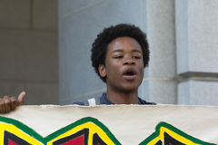 Black lives matter protestor speaking during march on City Hall Stock Photography