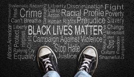 Black Lives Matter Word Cloud on Asphalt Concept of Fighting Racism