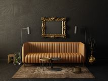 Interior. Black  living room  with brown sofa and lamp. scandinavian interior design furniture. 3d render illustration Royalty Free Stock Photography