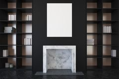 Black living room, fireplace and bookcases close up Royalty Free Stock Photos