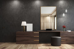 Black living room with a mirror. Black living room interior with a large mirror hanging above a wooden closet with a round pouffe standing near it. 3d rendering stock illustration