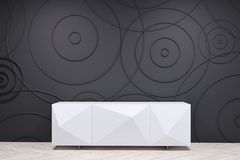 Black living room with a white cabinet Royalty Free Stock Image